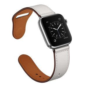 NEW[BAND] White Genuine Leather For Apple Watch